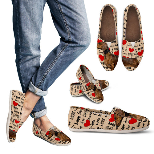 Dachshund Heart Women's Casual Shoes