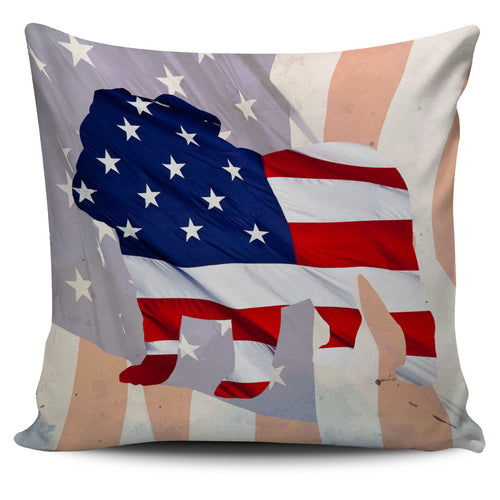 Patriotic Bulldog Pillow Cover