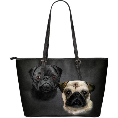 Pug Breed Large Leather Tote Bag