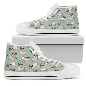 Pug Green Women's High Top Sneakers