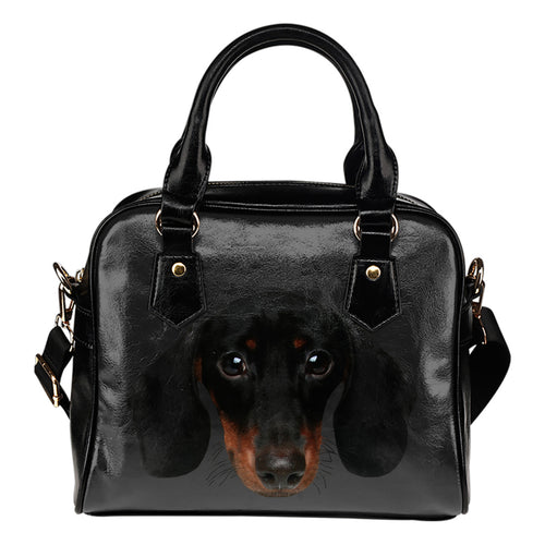 Dachshund Face Leather Shoulder Handbag