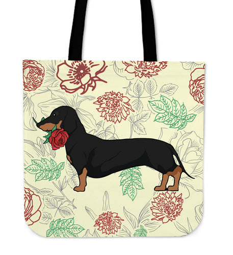 Dachshund Rose Tote Bag