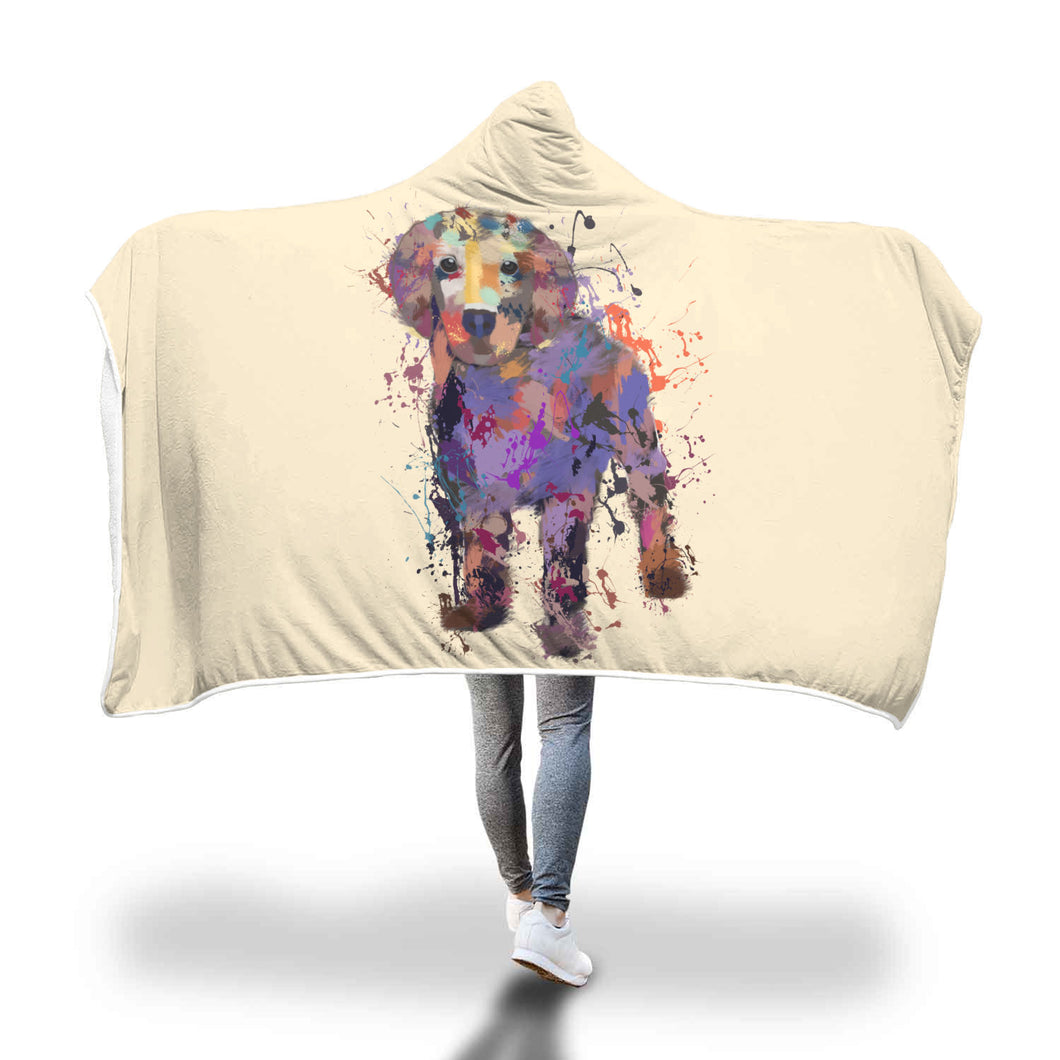 Golden Retriever Puppy Portrait Hooded Blanket