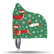 Dachshund Xmas Hooded Blanket