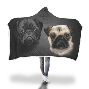 Pug Breed (BLACK) Hooded Blanket