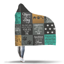 Dog Quotes Quilted Pattern Hooded Blanket