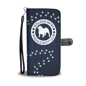 Bulldog Mom Denim Pattern Wallet Phone Case