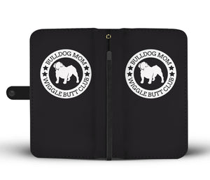 Bulldog Mom Black Background Wallet Phone Case