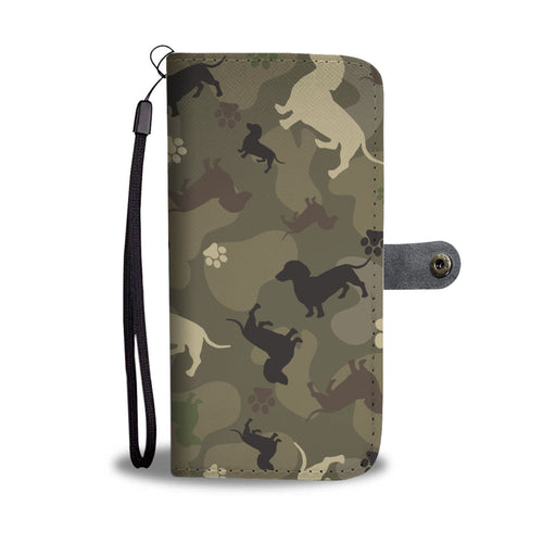 Dachshund Camo Wallet Phone Case