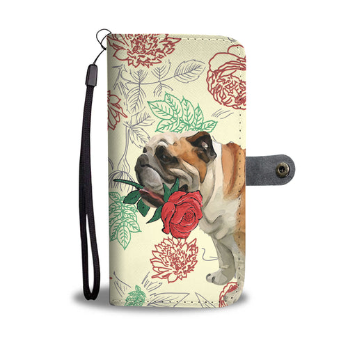 English Bulldog Rose Wallet Phone Case