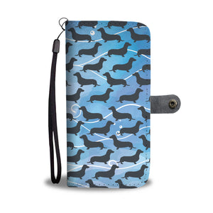 Dachshund Navy Pattern Wallet Phone Case