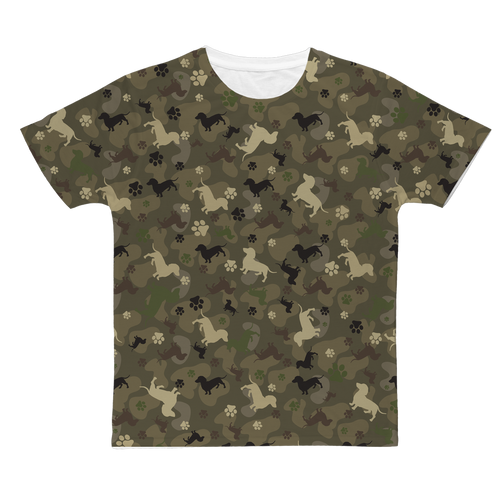 Dachshund Camo All Over Print Unisex T-Shirt