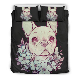 Flower Frenchie (Black) Bedding Set