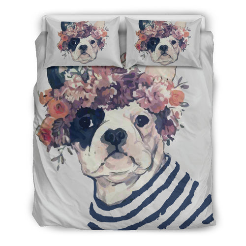 Flower Frenchie (White) Bedding Set