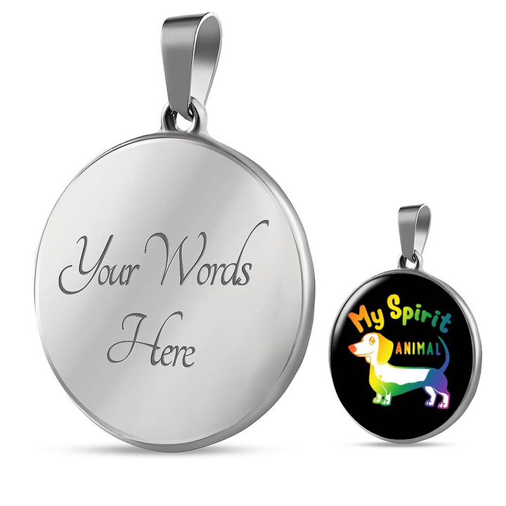 My Spirit Animal (Dachshund) Luxury Necklace With Circle Pendant