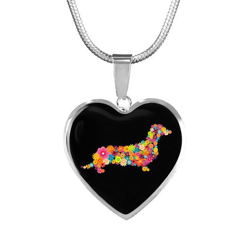 Dachshund Flower Luxury Necklace With Heart Pendant