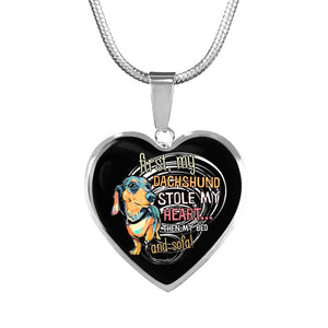 My Dachshund Stole My Heart Luxury Necklace With Heart Pendant