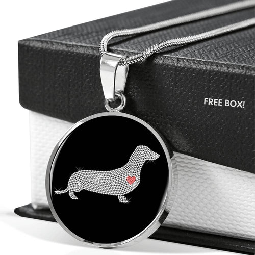 Dachshund Bling Luxury Necklace With Circle Pendant