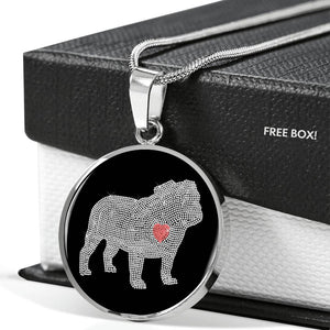 Bulldog Bling Luxury Necklace With Circle Pendant