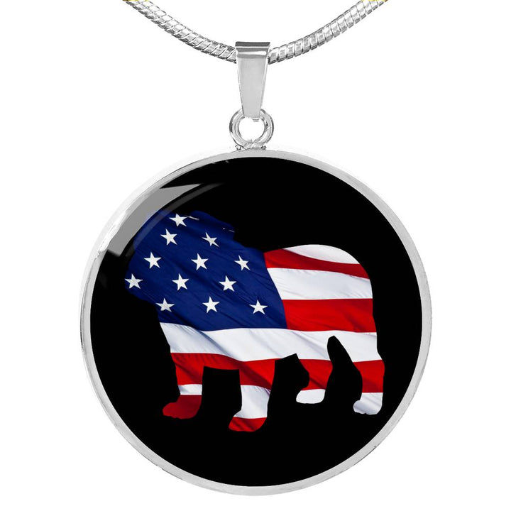 Patriotic Bulldog Luxury Necklace With Circle Pendant