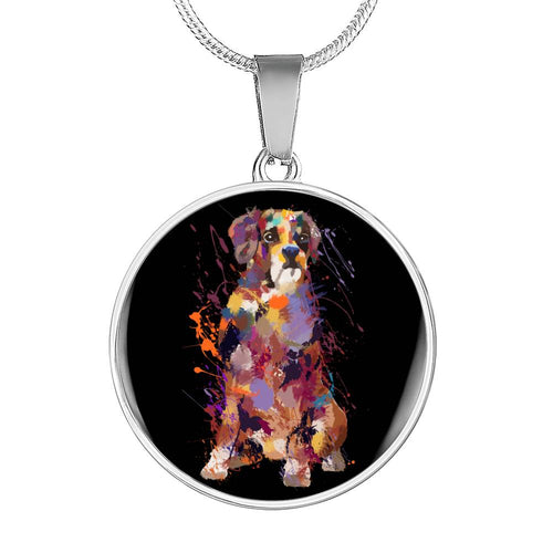 Boxer Portrait Luxury Necklace With Circle Pendant