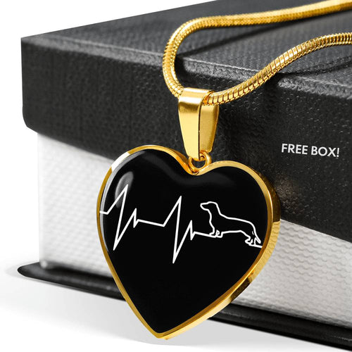 Dachshund Heartbeat Luxury Necklace With Heart Pendant