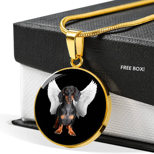 Dachshund Angel Luxury Necklace With Circle Pendant