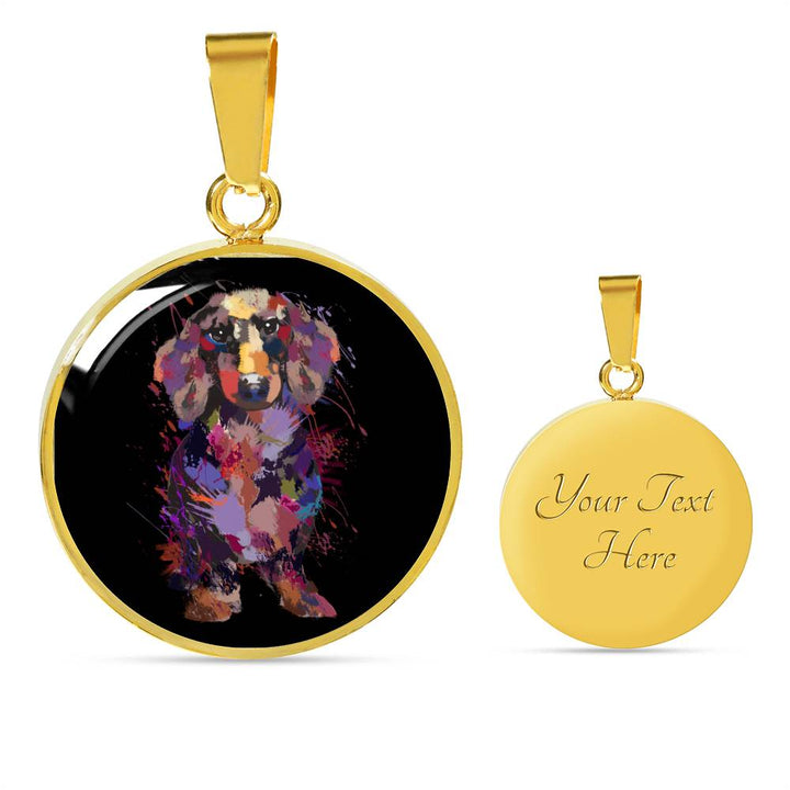 Dachshund Portrait Luxury Necklace With Circle Pendant