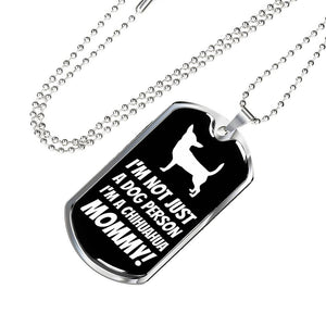 Chihuahua Mommy Luxury Dog Tag Military Chain