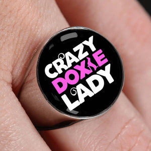 Crazy Doxie Lady Luxury Signet Ring
