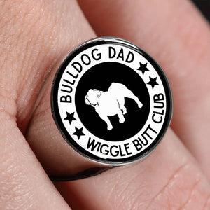 Bulldog Dad Wiggle Butt Club Signet Ring