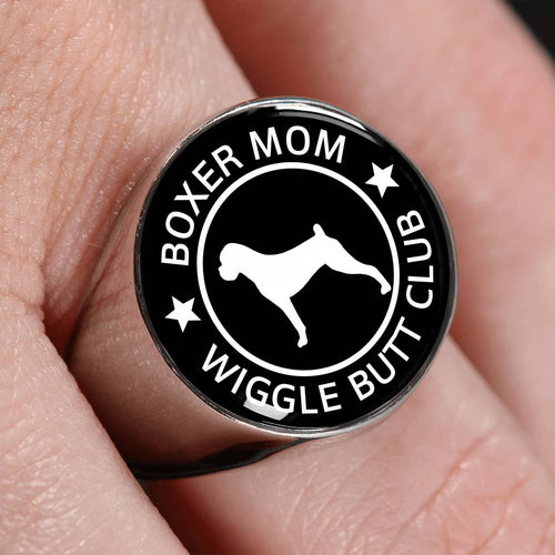 Boxer Mom Wiggle Butt Club Signet Ring