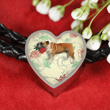 English Bulldog Rose Leather Woven Bracelet With Heart Charm