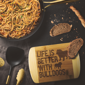 Life is Better With Bulldogs Round Wood Cutting Board