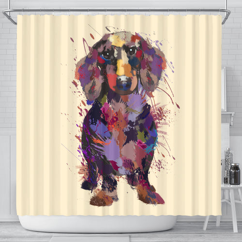 Dachshund Portrait Shower Curtain