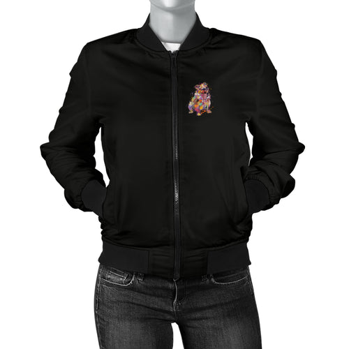English Bulldog Portrait Women's Bomber Jacket