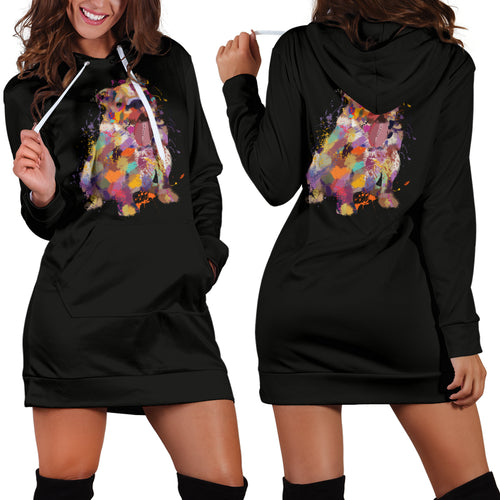 English Bulldog Portrait Hoodie Dress
