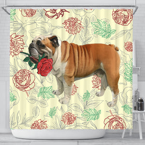 Bulldog Rose Shower Curtain