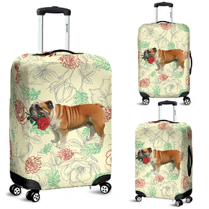 English Bulldog Rose Luggage Cover