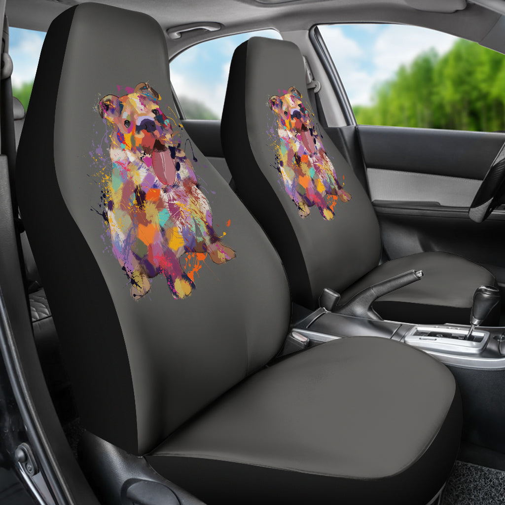 English Bulldog Portrait Car Seat Covers (GREY)