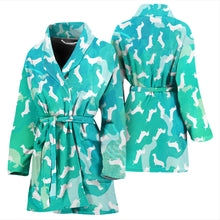 Dachshund Aqua Women's Bathrobe