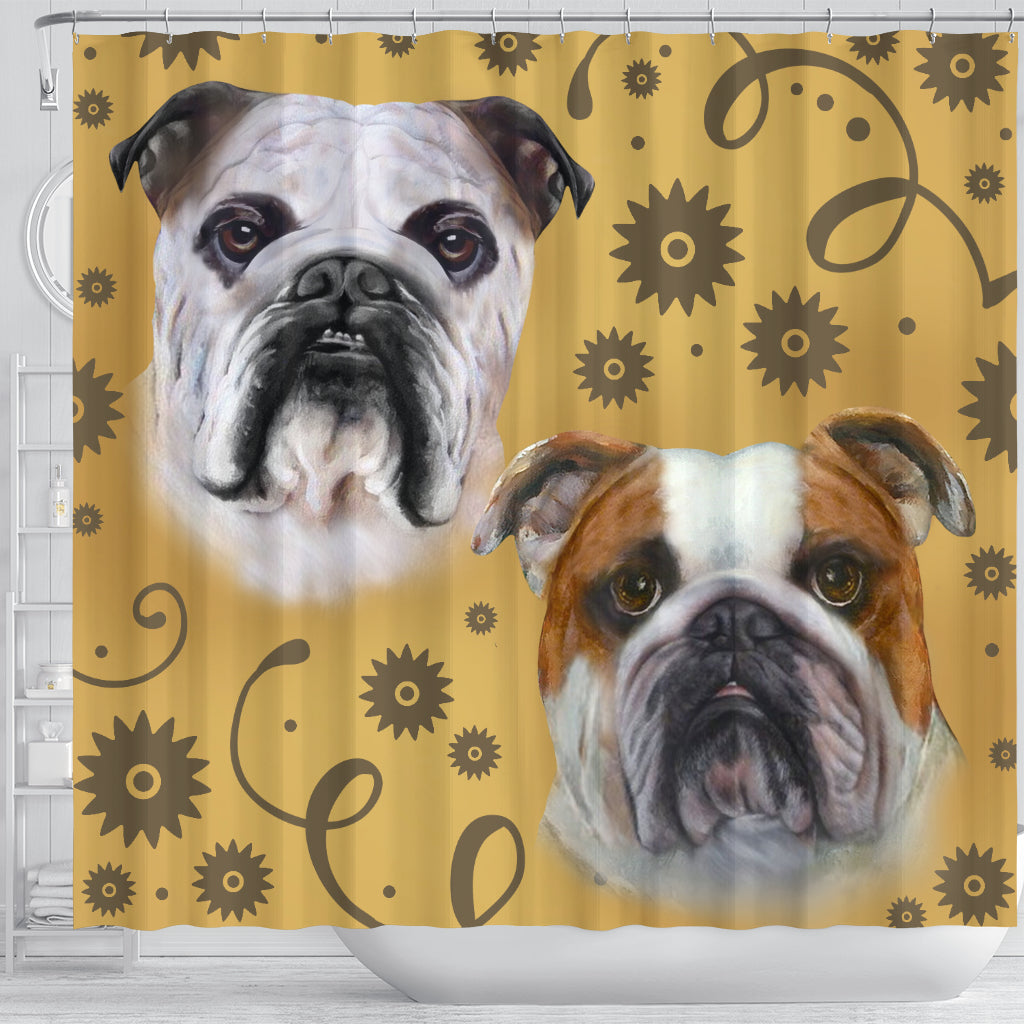 Bulldog Breed Shower Curtain Wiggle Decor