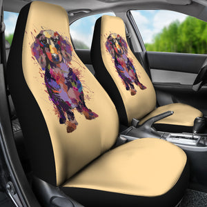 Dachshund Portrait Car Seat Covers (GOLD)