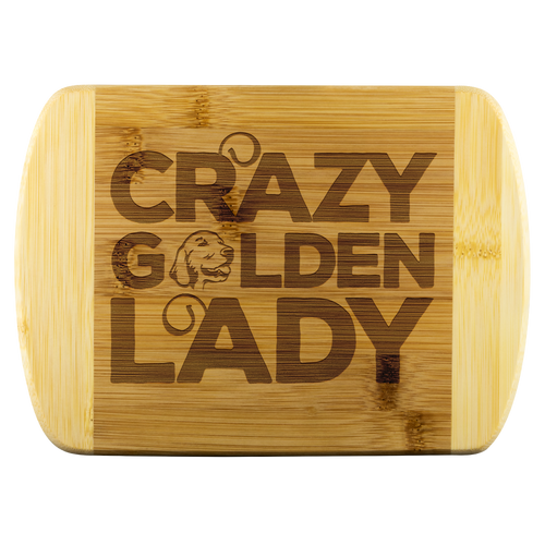 Crazy Golden Lady Round Wood Cutting Board