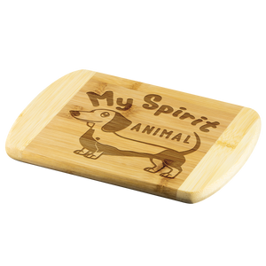 My Spirit Animal (Dachshund) Round Edge Wood Cutting Board