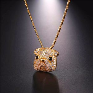Bulldog Pendant Cubic Zirconia Necklace