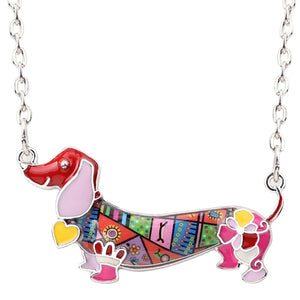 Dachshund Enamel Pendant Necklace