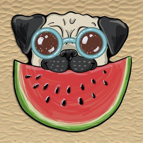 Watermelon Pug Shaped Beach Towel