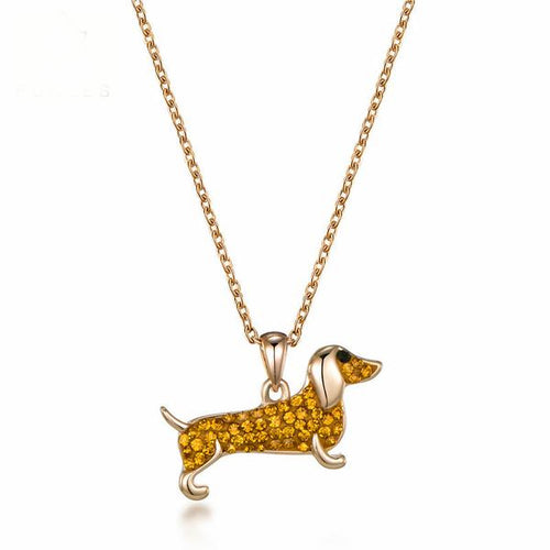 Dachshund Crystal Rose Gold Plated Necklace