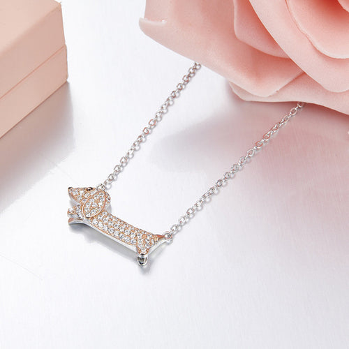 925 Sterling Silver Dachshund Pendant Necklace